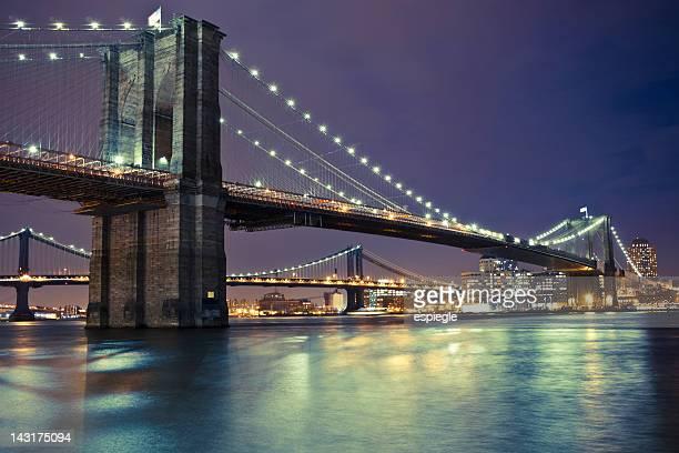 Brooklyn and Manhattan Bridges at night