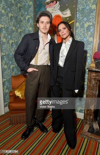 Brooklyn and Victoria Beckham attend the Victoria Beckham x YouTube Fashion Beauty After Party at London Fashion Week hosted by Derek Blasberg and...