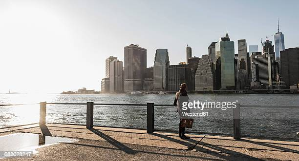 USA, Brooklyn, back view of businessman with briefcase looking at Manhattan skyline