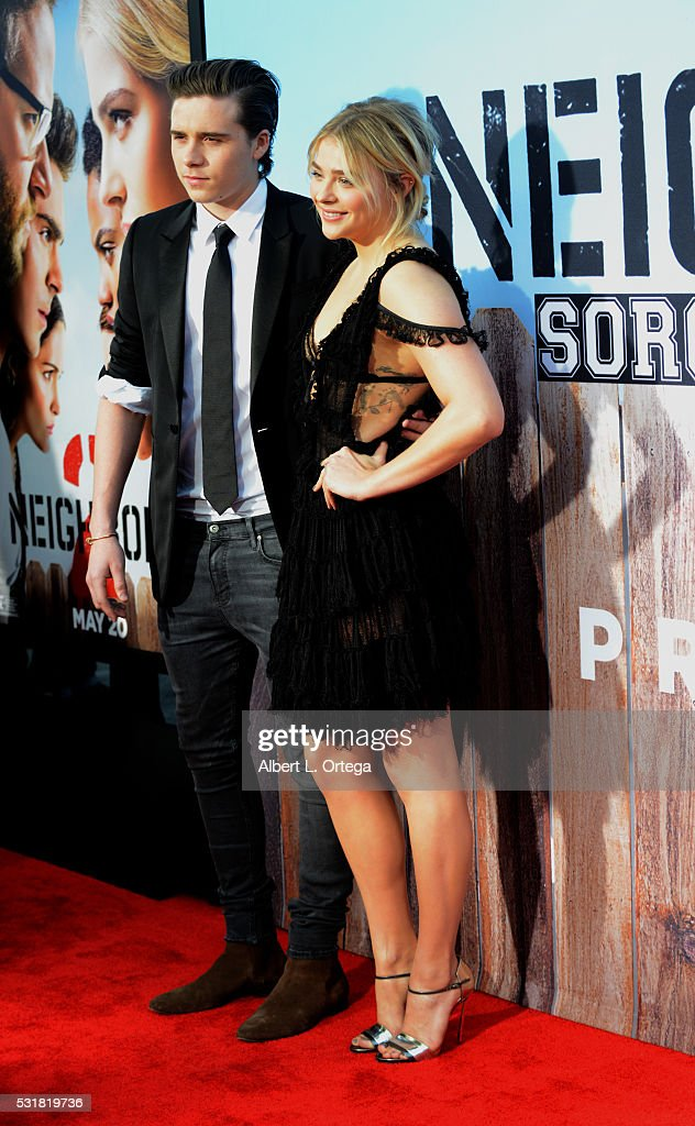 Brooklyn Beckham and actress Chloë Grace Moretz arrive for the Premiere Of Universal Pictures' 'Neighbors 2: Sorority Rising' held at Regency Village Theatre on May 16, 2016 in Westwood, California.