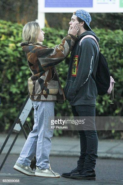 Brooklyn Beckham and Anais Gallagher seen with friends in North London on January 24 2017 in London England