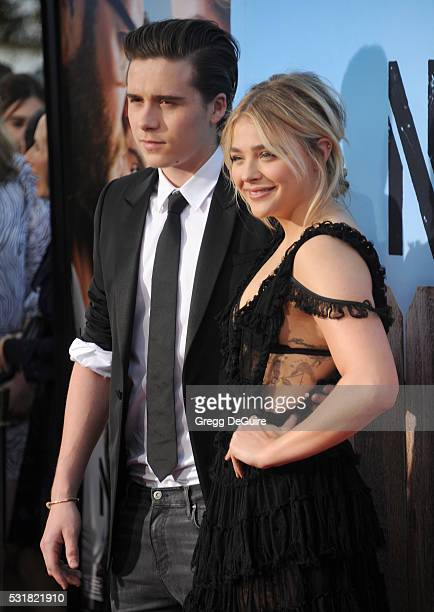Brooklyn Beckham and Chloe Grace Moretz arrive at the premiere of Universal Pictures' 'Neighbors 2 Sorority Rising' on May 16 2016 in Westwood...