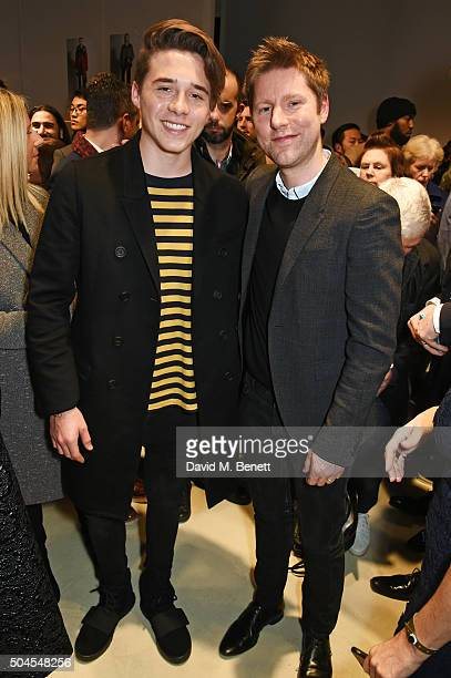 Brooklyn Beckham and Christopher Bailey Burberry Chief Creative and Chief Executive Officer attend the Burberry Menswear January 2016 Show on January...