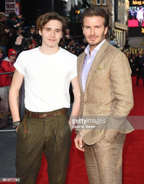 Brooklyn Beckham and David Beckham attend the European Premiere of King Arthur Legend of the Sword at Cineworld Empire on May 10 2017 in London...