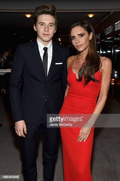 Brooklyn Beckham and designer Victoria Beckham attend the 2015 Glamour Women of The Year Awards dinner hosted by Cindi Leive at The Rainbow Room on...