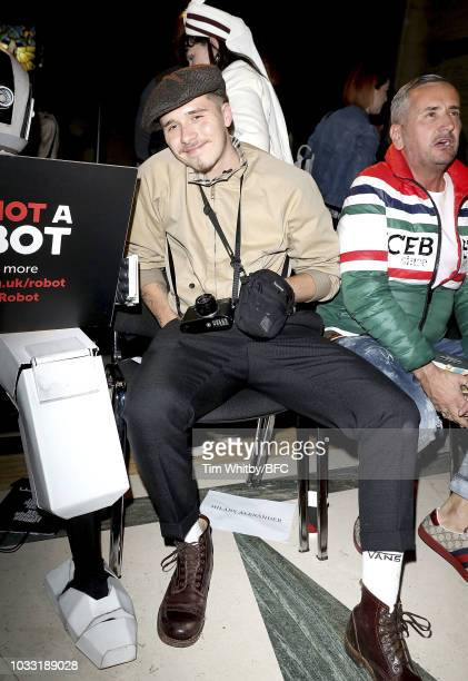 Brooklyn Beckham and DJ Fat Tony attend the Pam Hogg Show during London Fashion Week September 2018 at Freemasons Hall on September 14 2018 in London...