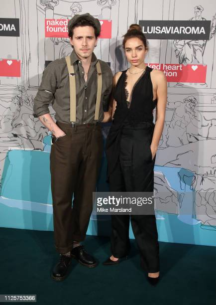 Brooklyn Beckham and Hana Cross arrive at the Fabulous Fund Fair event during London Fashion Week February 2019 at the The Roundhouse on February 18...