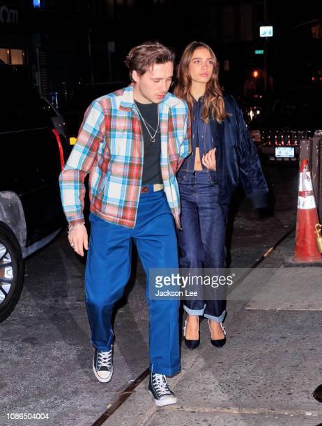 Brooklyn Beckham and Hana Cross arrive at Victoria Beckham's Reebok line launch on January 22 2019 in New York City