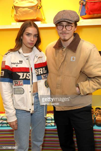 Brooklyn Beckham and Hana Cross attend the Eye/LOEWE/Nature launch at exclusive popup on Brewer Street on January 5 2019 in London England