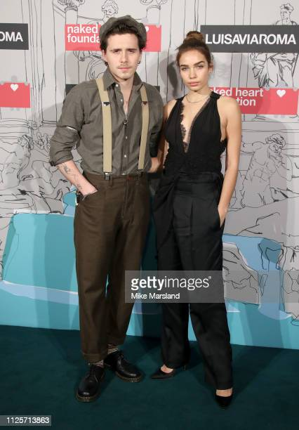 Brooklyn Beckham and Hana Cross attend the Fabulous Fund Fair event during London Fashion Week February 2019 at the The Roundhouse on February 18...