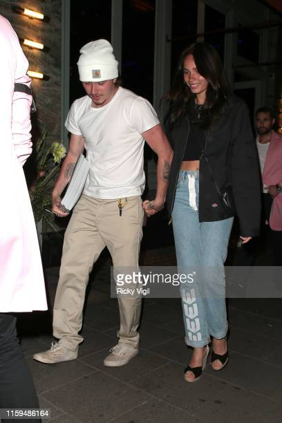 Brooklyn Beckham and Hana Cross attend the launch of Wonderland Magazine's Summer 2019 issue at Sexy Fish on July 01 2019 in London England