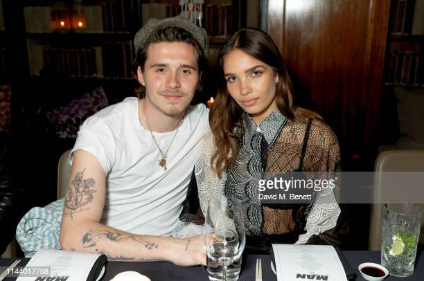 Brooklyn Beckham and Hana Cross attend the Man About Town magazine issue launch at Novikovon May 15 2019 in London England