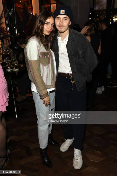 Brooklyn Beckham and Hana Cross attend the Pat McGrath 'A Technicolour Odyssey' Campaign launch party at Brasserie of Light Selfridges on April 04...