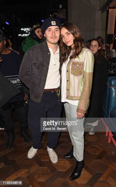 Brooklyn Beckham and Hana Cross attend the Pat McGrath x Selfridges 'A Technicolour Odyssey' launch party at Selfridges on April 04 2019 in London...