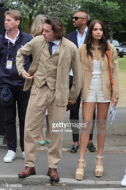 Brooklyn Beckham and Hana Cross attending Men's Final Day at the Wimbledon 2019 Tennis Championships at All England Lawn Tennis and Croquet Club on...
