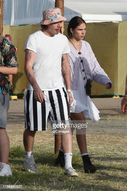 Brooklyn Beckham and Hana Cross seen at Glastonbury Festival 2019 on June 28 2019 in Glastonbury England