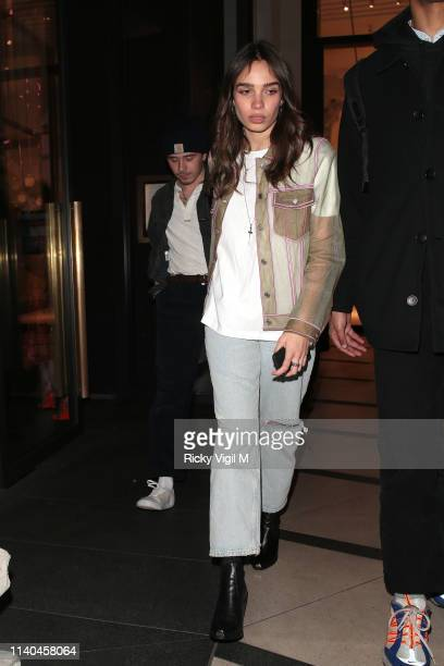 Brooklyn Beckham and Hana Cross seen attending the Pat McGrath 'A Technicolour Odyssey' Campaign launch party at Brasserie of Light Selfridges on...