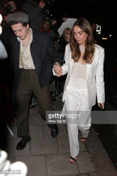 Brooklyn Beckham and Hana Cross seen attending Victoria Beckham x YouTube party at Mark's Club during LFW February 2019 on February 17 2019 in London...