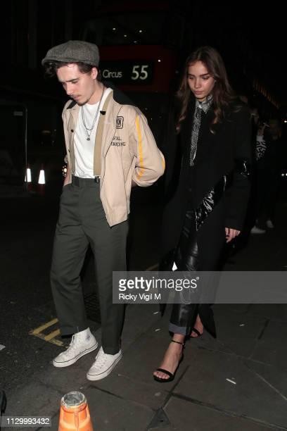 Brooklyn Beckham and Hana Cross seen attending Wonderland Magazine x Christian Louboutin party at Unit London during LFW February 2019 on February 15...