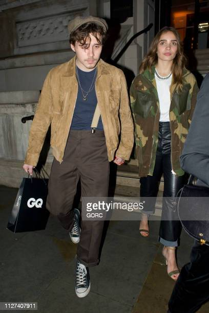 Brooklyn Beckham and Hana Cross seen leaving the GQ car awards at the Corinthia Hotel on February 04 2019 in London England
