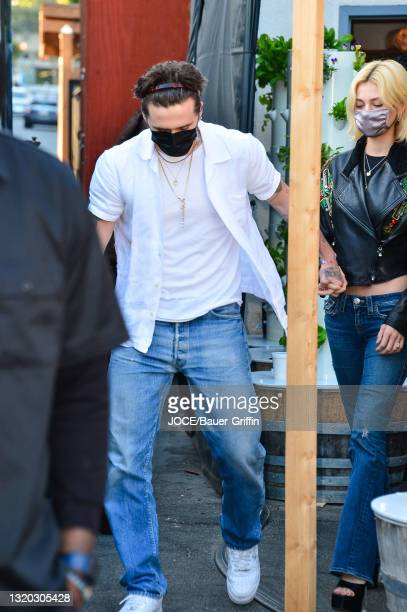 Brooklyn Beckham and Nicola Peltz are seen on May 26, 2021 in Los Angeles, California.