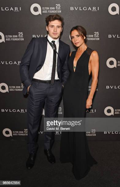 Brooklyn Beckham and Victoria Beckham attend the Argento Ball for the Elton John AIDS Foundation in association with BVLGARI Bob and Tamar Manoukian...