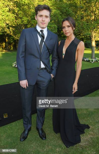 Brooklyn Beckham and Victoria Beckham attend the Argento Ball for the Elton John AIDS Foundation in association with BVLGARI & Bob and Tamar...