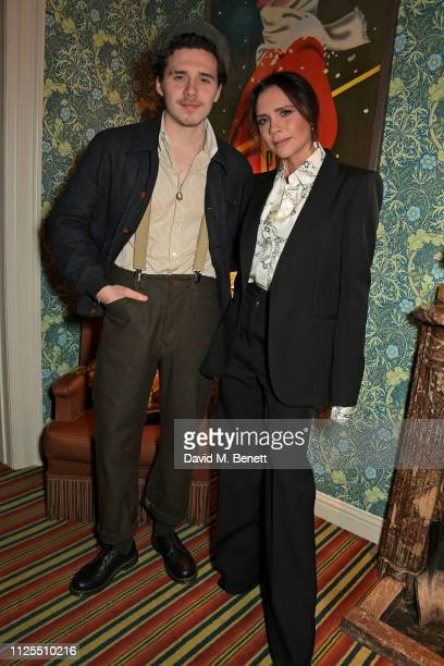 Brooklyn Beckham and Victoria Beckham attend the Victoria Beckham x YouTube Fashion & Beauty after party at London Fashion Week hosted by Derek...