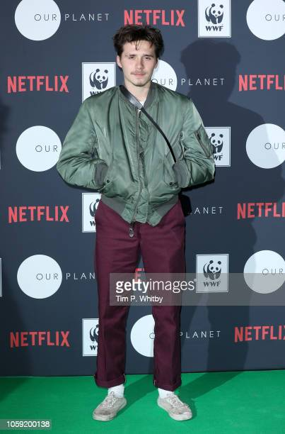 Brooklyn Beckham attends Netflix's 'Our Planet' announcement at WWF's State of the Planet Address at Westminster Central Hall on November 8 2018 in...