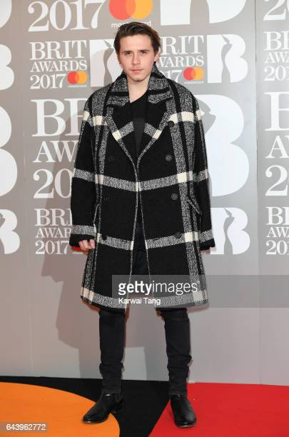 ONLY Brooklyn Beckham attends The BRIT Awards 2017 at The O2 Arena on February 22 2017 in London England