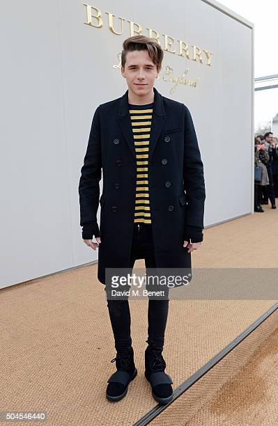 Brooklyn Beckham attends the Burberry Menswear January 2016 Show on January 11 2016 in London United Kingdom