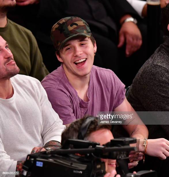 Brooklyn Beckham attends the Denver Nuggets Vs New York Knicks game at Madison Square Garden on October 30 2017 in New York City