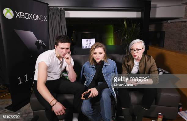 Brooklyn Beckham Chloe Grace Moretz and Kate Yeager play Xbox One during an Xbox Live Session as Liam Payne Chloe Grace Moretz Brooklyn Beckham and...
