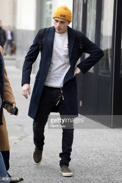 Brooklyn Beckham comes out of his hotel on February 9 2018 in New York City
