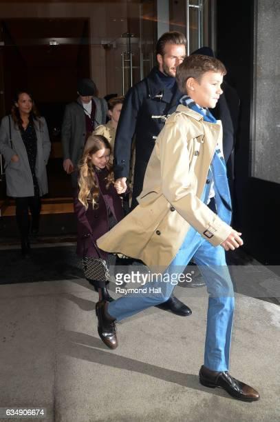 R Brooklyn Beckham Cruz Beckham Harper Beckham David Beckham and Romeo Beckham are seen walking in Mitown on February 12 2017 in New York City