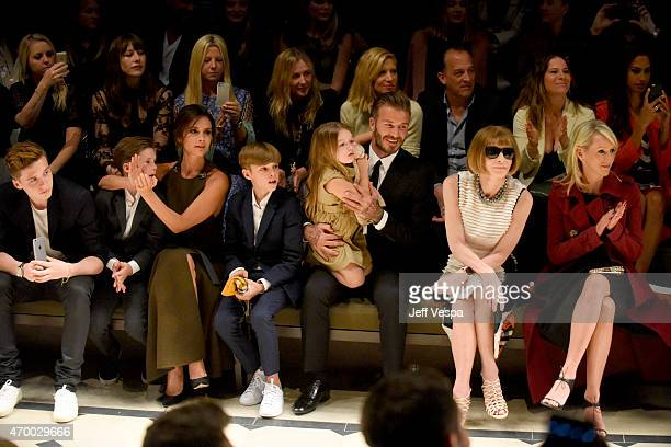 Brooklyn Beckham, Cruz Beckham, Victoria Beckham, Romeo Beckham, Harper Beckham, David Beckham, editor-in-chief of American Vogue Anna Wintour and...