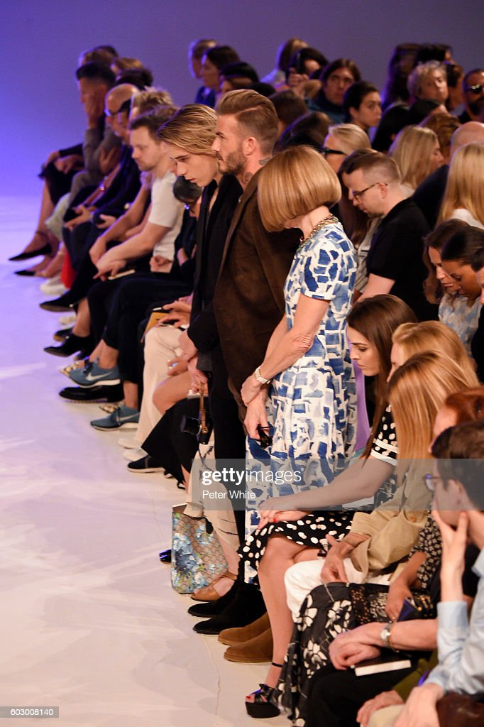 Brooklyn Beckham, David Beckham and Anna Wintour attend the Victoria Beckham Women's Fashion Show during New York Fashion Week on on September 11, 2016 in New York City.