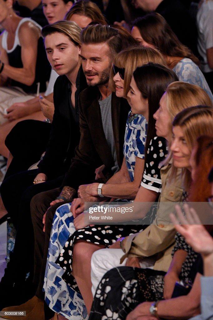 Brooklyn Beckham, David Beckham and Anna Wintour attend the Victoria Beckham Women's Fashion Show during New York Fashion Week on September 11, 2016 in New York City.