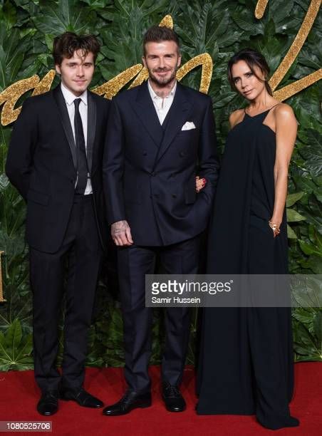 Brooklyn Beckham, David Beckham and Victoria Beckham arrive at The Fashion Awards 2018 In Partnership With Swarovski at Royal Albert Hall on December...