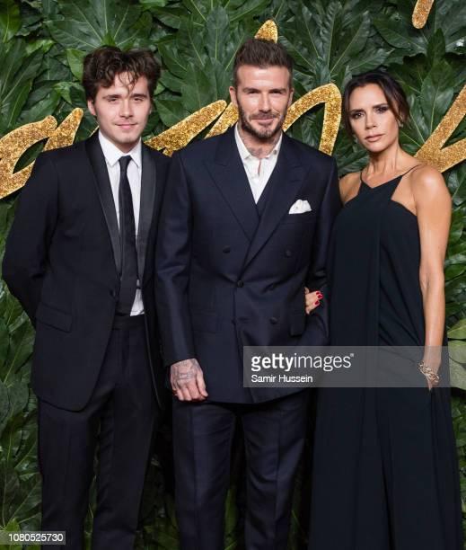 Brooklyn Beckham David Beckham and Victoria Beckham arrive at The Fashion Awards 2018 In Partnership With Swarovski at Royal Albert Hall on December...