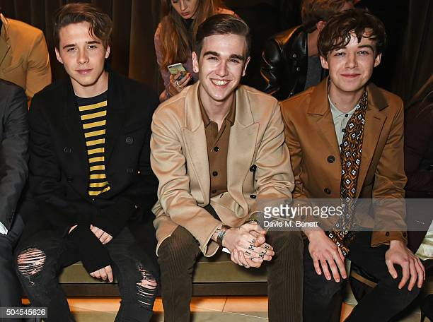 Brooklyn Beckham Gabriel DayLewis and Alex Lawther attend the Burberry Menswear January 2016 Show on January 11 2016 in London United Kingdom