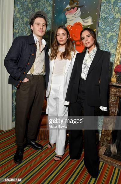 Brooklyn Beckham, Hana Cross and Victoria Beckham attend the Victoria Beckham x YouTube Fashion & Beauty After Party at London Fashion Week hosted by...