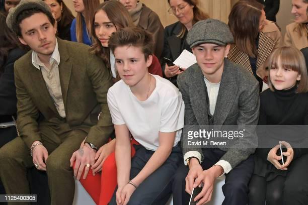 Brooklyn Beckham Hana Cross Cruz Beckham Romeo Beckham and Harper Beckham attend the Victoria Beckham show during London Fashion Week February 2019...