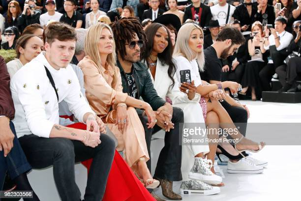 Brooklyn Beckham his mother Victoria Beckham Kate Moss Lenny Kravitz Naomi Campbell and Yoon Ahn attend the Dior Homme Menswear Spring/Summer 2019...