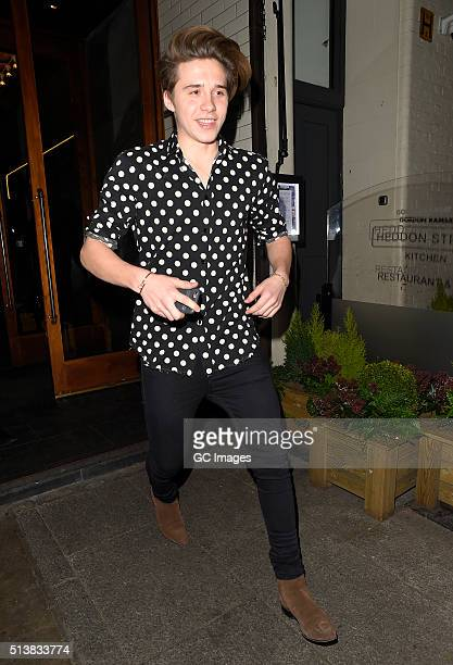 Brooklyn Beckham leaves Heddon Street Kitchen after celebrating Brooklyn's 17th Birthday on March 4 2016 in London England