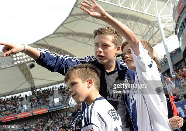Brooklyn Beckham Romeo Beckham and Cruz Beckham are seen after the Galaxy defeat the Houston Dynamo 31 to win the 2012 MLS Cup at The Home Depot...