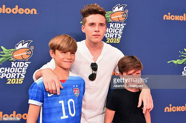 Brooklyn Beckham Romeo Beckham and Cruz Beckham attend the Nickelodeon Kids' Choice Sports Awards 2015 at UCLA's Pauley Pavilion on July 16 2015 in...