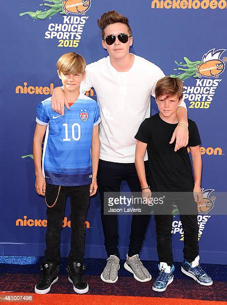 Brooklyn Beckham Romeo Beckham and Cruz Beckham attend the Nickelodeon Kids' Choice Sports Awards at UCLA's Pauley Pavilion on July 16 2015 in...