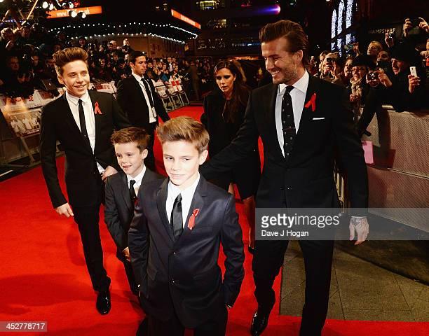 """Brooklyn Beckham, Romeo Beckham, Cruz Beckham, Victoria Beckham and David Beckham attend the World premiere of """"The Class of 92"""" at Odeon West End on..."""