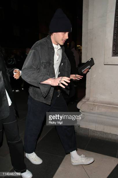 Brooklyn Beckham seen attending the Pat McGrath 'A Technicolour Odyssey' Campaign launch party at Brasserie of Light Selfridges on April 04 2019 in...